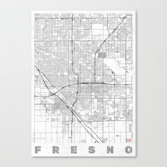 Fresno Map Line Canvas Print