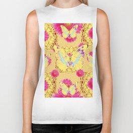 Abstract Fuchsia Pink Gerber Flower & Yellow Butterfly Patterns Biker Tank