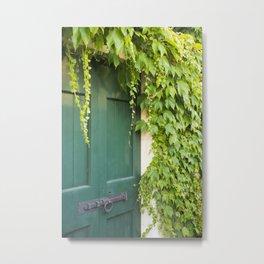 Green Door with Ivy, Bellagio Metal Print