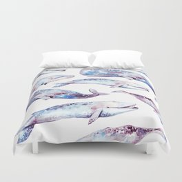 Watercolor Whales Duvet Cover