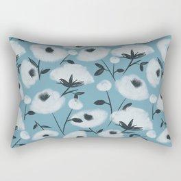 Cotton Flowers on Blue Pattern Rectangular Pillow