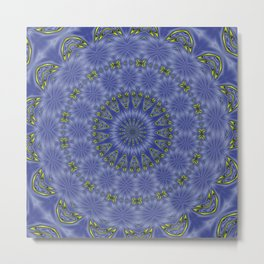 Blue and Yellow Abstract Kaleidoscope Metal Print