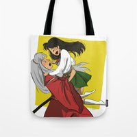 inuyasha Tote Bags featuring Inuyasha and Kagome by Lara Pickle