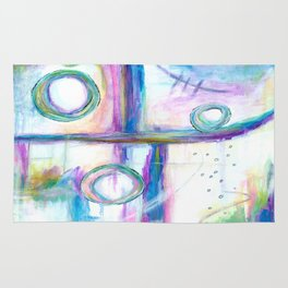 Just the Three of Us, Abstract Art Painting Rug