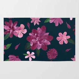 Burgundy Blush Floral Pattern Rug