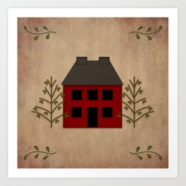 Primitive Country House Art Print