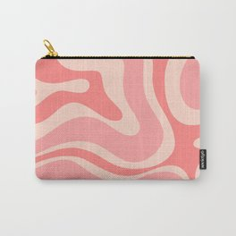Blush Pink Modern Retro Liquid Swirl Abstract Pattern Square Carry-All Pouch