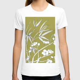 bamboo and plum flower in white on yellow T-shirt