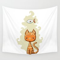 ginger Wall Tapestries featuring Ginger Cat by Freeminds
