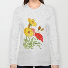 red and yellow  poppies Long Sleeve T-shirt