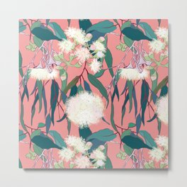 Australian Gumnut Eucalyptus Floral in White  + Dusty Peach Metal Print