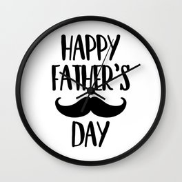 Happy Father's day mustaches Wall Clock