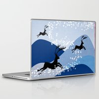 card Laptop & iPad Skins featuring Christmas card  by mark ashkenazi