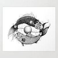 pisces Art Prints featuring Pisces by PAgata