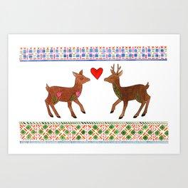 Deer in Love Art Print