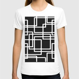 Interlocking White Squares Artistic Design T-shirt