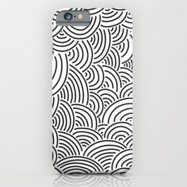 Black and white hand drawn pattern iPhone Case