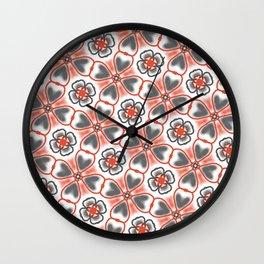 Coral Grey hearts Wall Clock