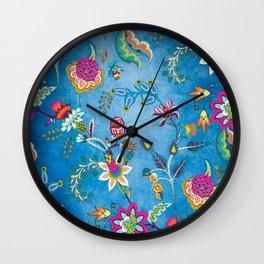 Blue Lapis Velvet Texture Chintz Multicolour Bohemian Floral Pattern Wall Clock