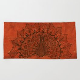 Doodle peacock on red Beach Towel
