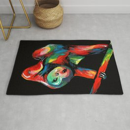 Frank the Sloth on a Black Background Rug
