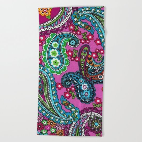 Floral Paisley Pattern 03 Beach Towel