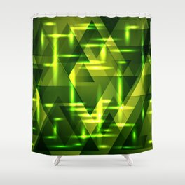 Grass plain and green intersections on a dark metal background. Shower Curtain
