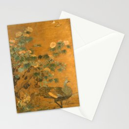 Bian Lu Peacock and Hollyhocks Stationery Cards
