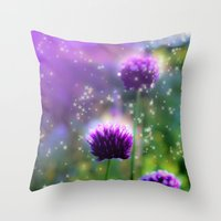 "clover Throw Pillows featuring ""Clover"" by Moon Willow"