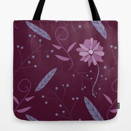 Purple and Pink Floral Feathers Pattern Tote Bag