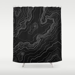 Black topography map Shower Curtain