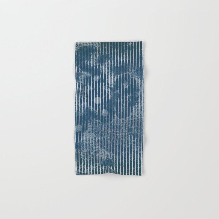 White stripes on grunge textured blue background Hand & Bath Towel