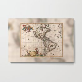 North & South America map 1658 with 2017 enhancements Metal Print