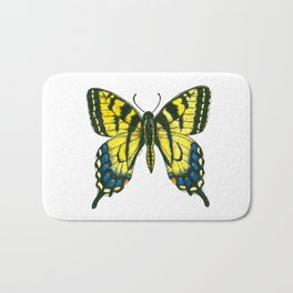 Tiger swallowtail butterfly watercolor and ink Bath Mat