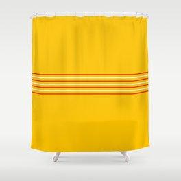 Filigree Thin Stripes on Yellow Shower Curtain