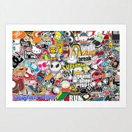 JDM Sticker Bomb Art Print