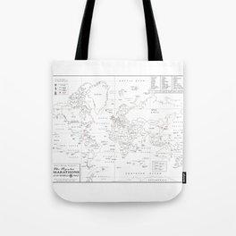 Popular World Marathons Map [Black and White] Tote Bag
