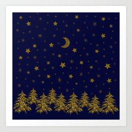 Sparkly Christmas tree, moon, stars Art Print