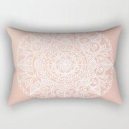 White Mandala on Rose Gold Rectangular Pillow