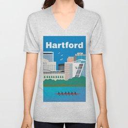 Hartford, Connecticut - Skyline Illustration by Loose Petals Unisex V-Neck