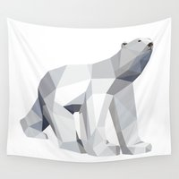 polar bear Wall Tapestries featuring Polar bear by Marta Olga Klara