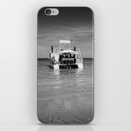 Catamaran boat at beach coast iPhone Skin