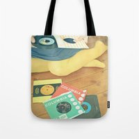 vinyl Tote Bags featuring Vinyl by Cassia Beck