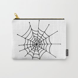 Spiderweb. Simle, one line hand drawn spiderweb. Black and white Carry-All Pouch