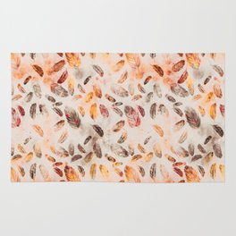 Autumn Feathers watercolor pattern Rug