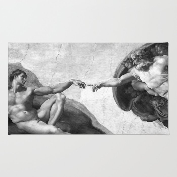 Black and White Creation of Adam Painting by Michelangelo Sistine Chapel Rug