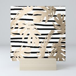 Simply Tropical White Gold Sands Palm Leaves on Stripes Mini Art Print