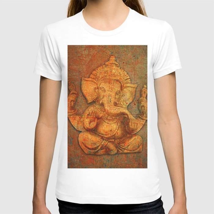 Lord Ganesh On a Distress Stone Background T-shirt