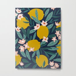 Lemon Blossoms Green Leaves Dark Background Floral Fruit Pattern Fun Colorful Floral Design Metal Print