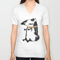 dog V-neck T-shirts featuring DOG by Кaterina Кalinich